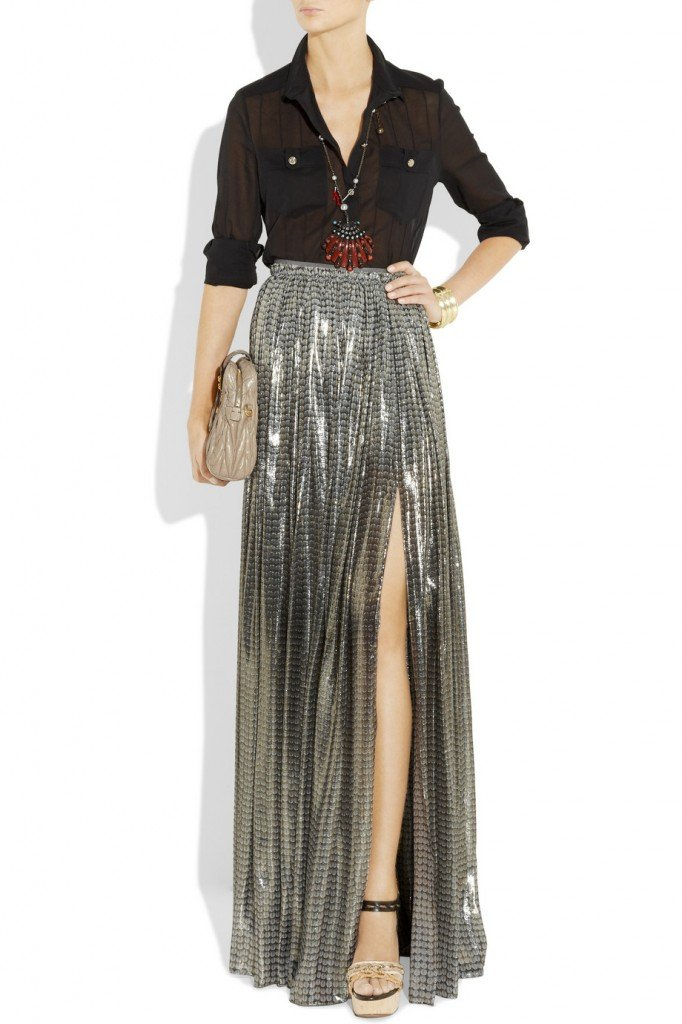 lanvin silk blend lame maxi skirt