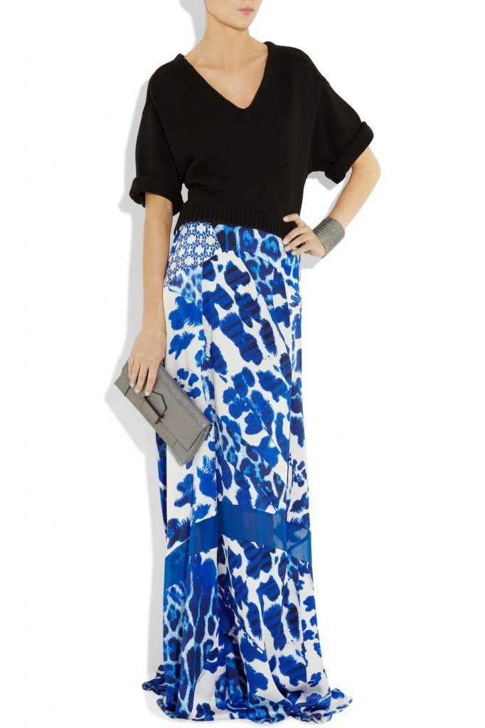 just cavalli satin maxi skirt