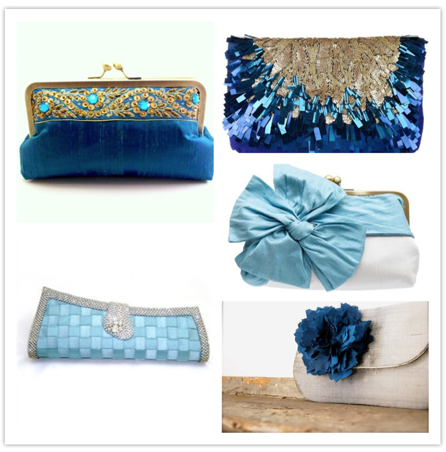 something blue wedding clutches