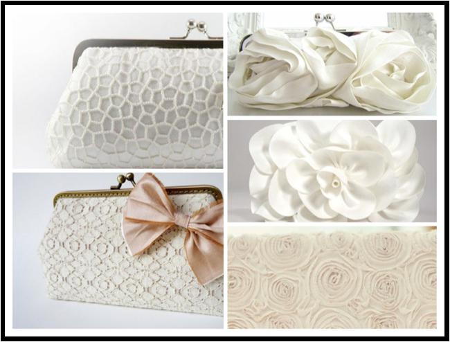 white bridal wedding clutches