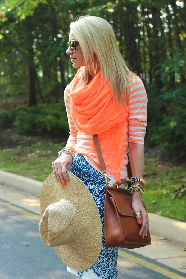 how to wear a summer scarf, think light and breezy pics! Click to see the rest of the tips in this post on how to pull off a scarf this summer