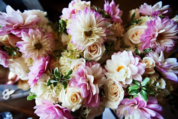 blush dahlia wedding bouquets  © Jane Z Photography