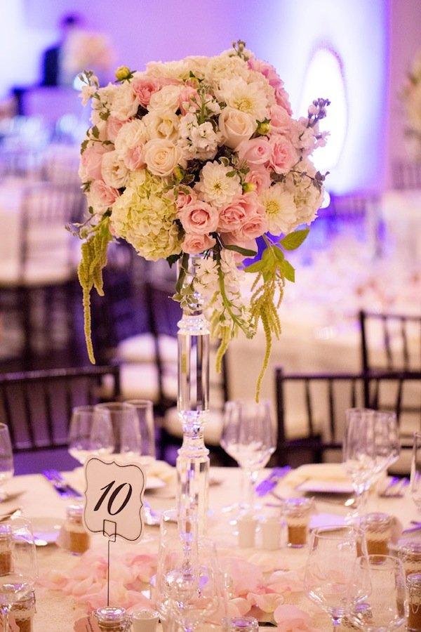 blush cream dahlia hydrangea wedding flower centerpiece © Jane Z Photography