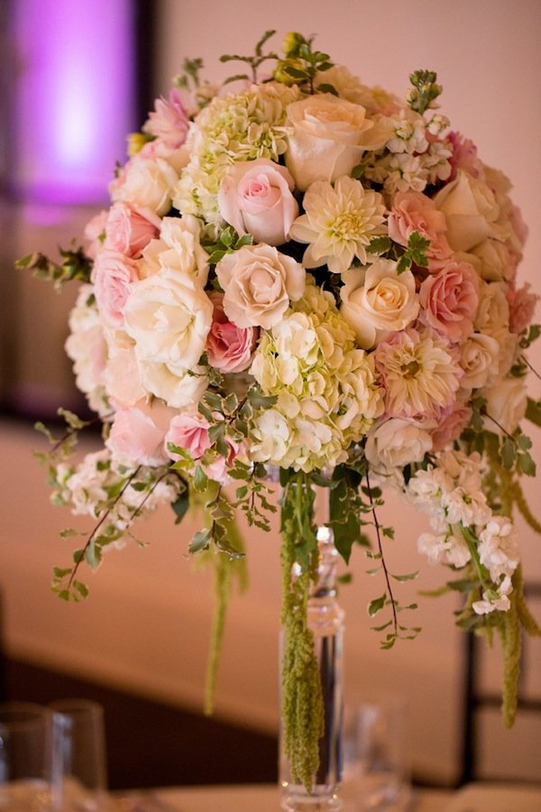 pink cream wedding flower centerpiece dahlias hydrangeas