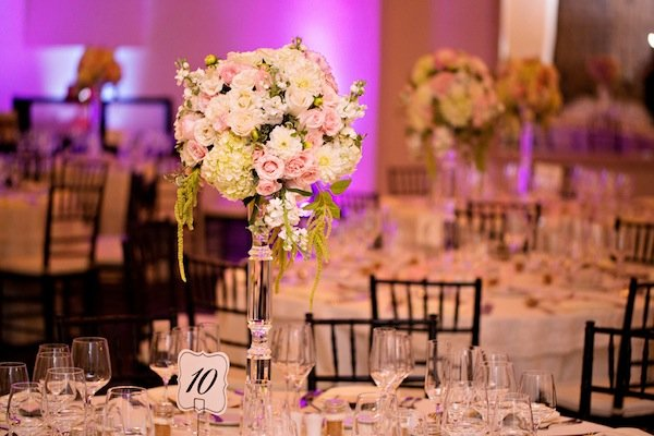 blush wedding flower centerpieces  © Jane Z Photography