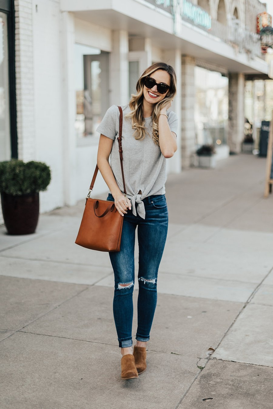 cuffed jeans and ankle boots casual weekend outfit idea