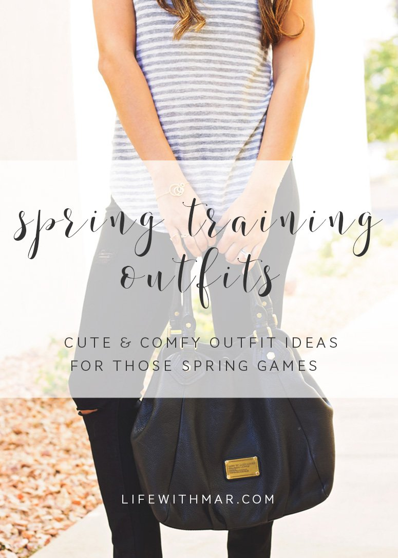 Spring training outfit ideas, cute and comfy outfits for those spring training games and other casual outings!