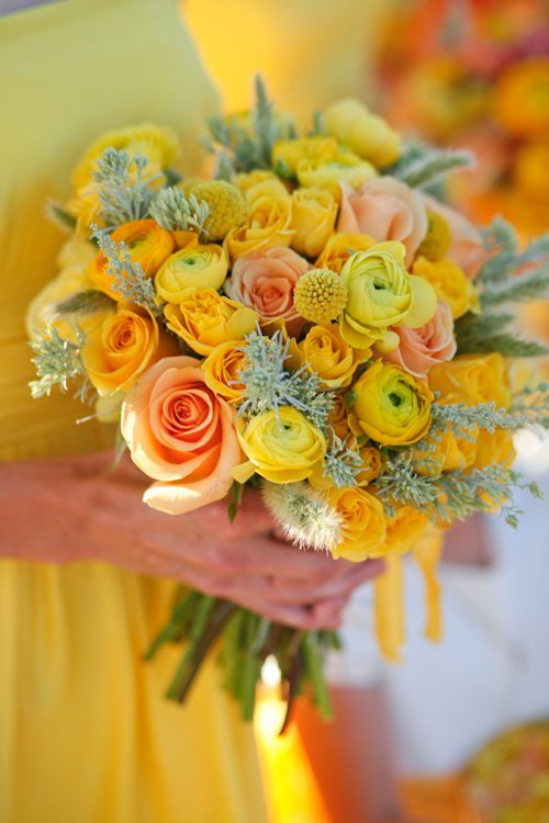 coral and yellow wedding ideas