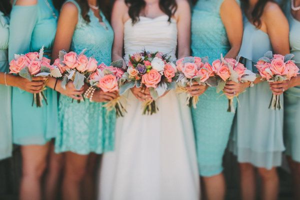 coral and teal weddings