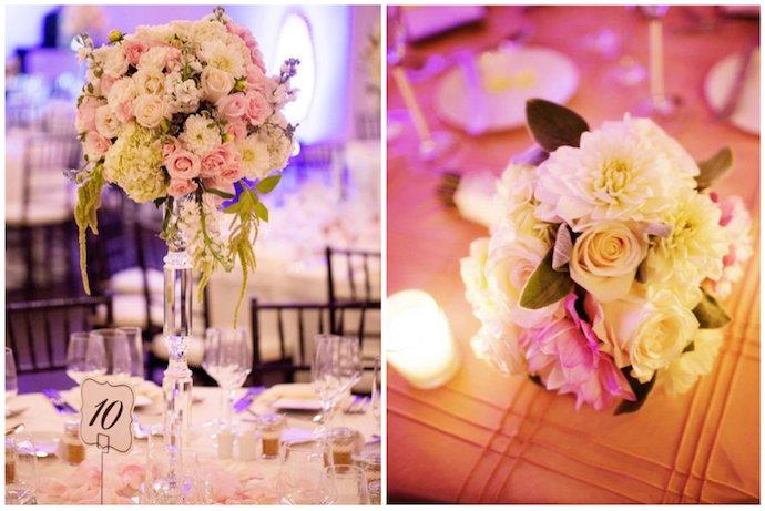 pink cream white blush wedding flower centerpieces