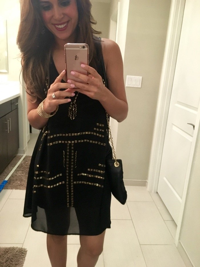 black gold mini dress