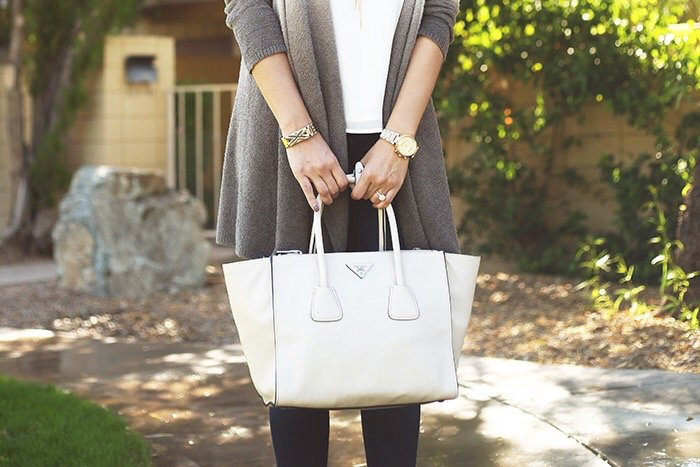 ombre cardigan from barefoot dreams and white prada bag! Click to see the rest of this look