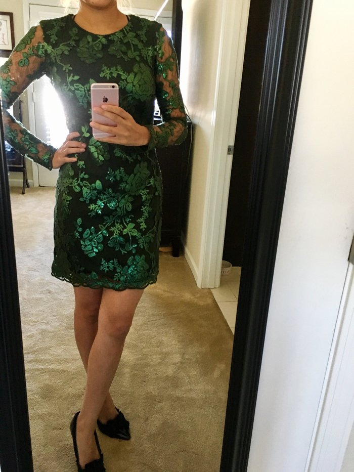 green sequin dress, holiday outfit idea