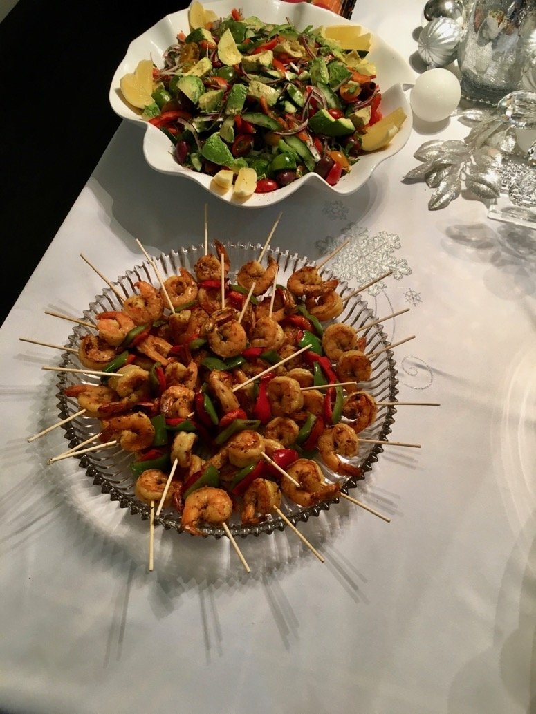 Shrimp and veggie skewers, an easy holiday food idea. Click to see the rest of the menu at this holiday party