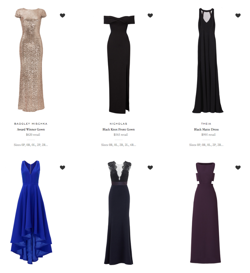 rent the runway Oscar party outfits