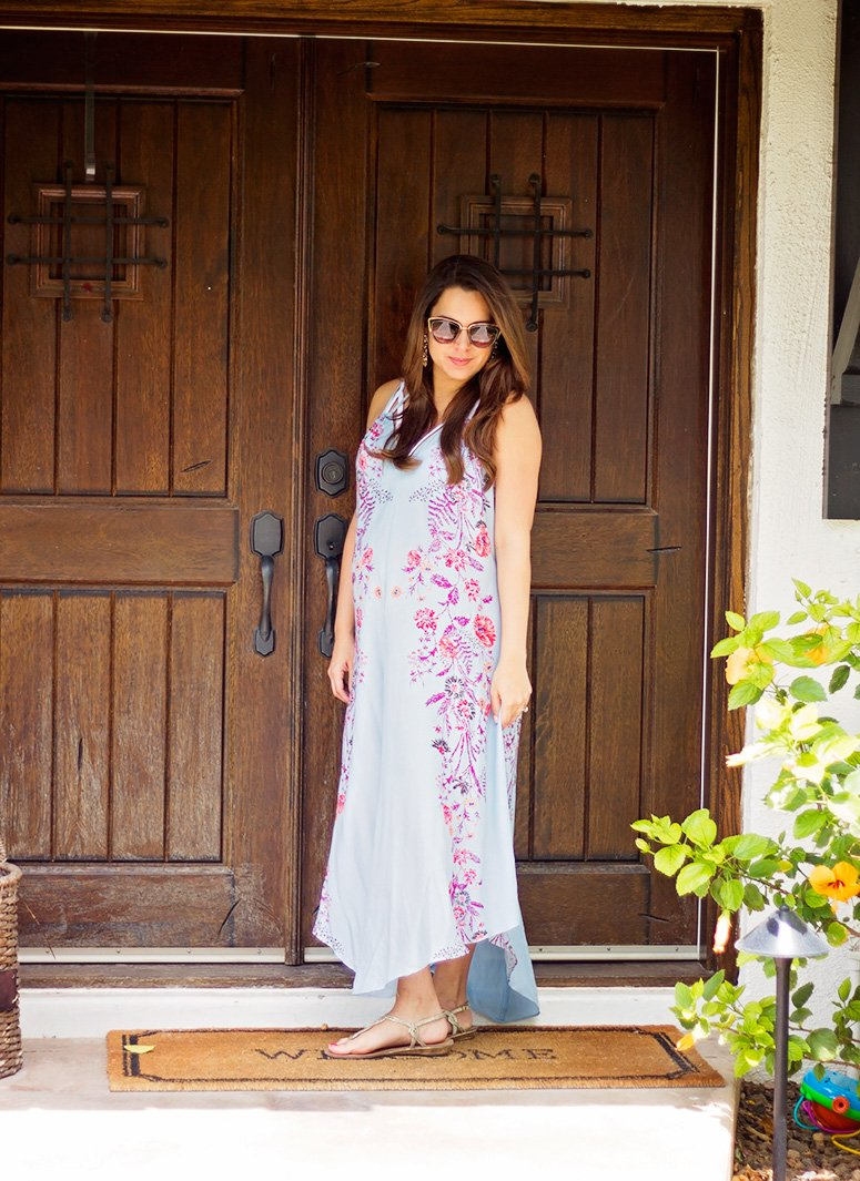 Free People blue floral print Maxi dress. Click to see how I styled this look