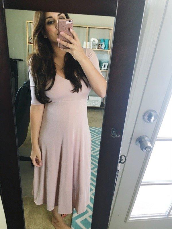 ASTR cross back pink midi dress