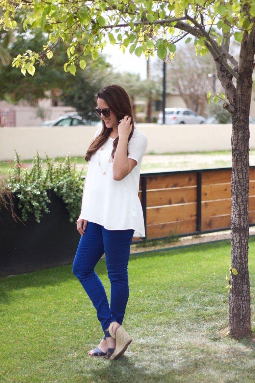 White Pleione shirt, cute bump-friendly style