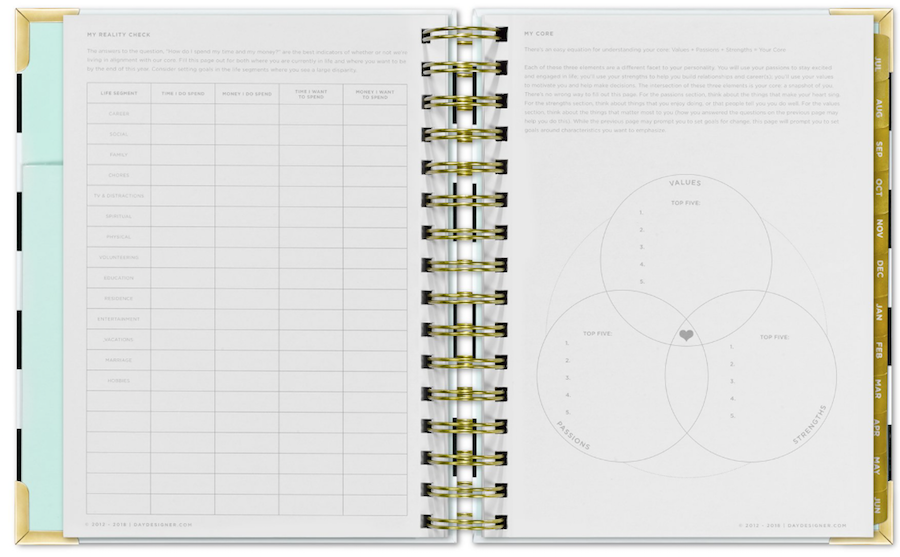 day designer worksheets and review