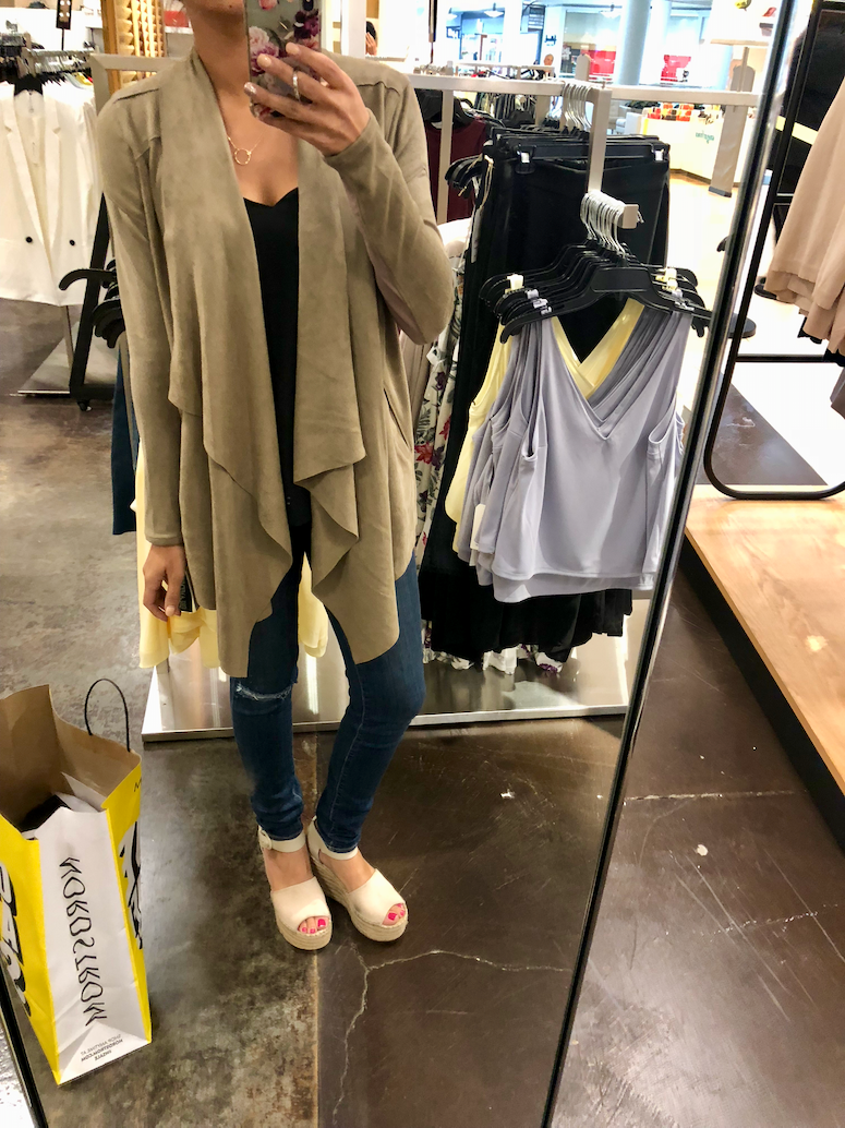 2018 nordstrom anniversary sale dressing room diaries and try on haul blanknyc waterfall cardigan