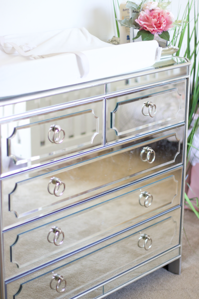 mirrored dresser changing table for small nursery