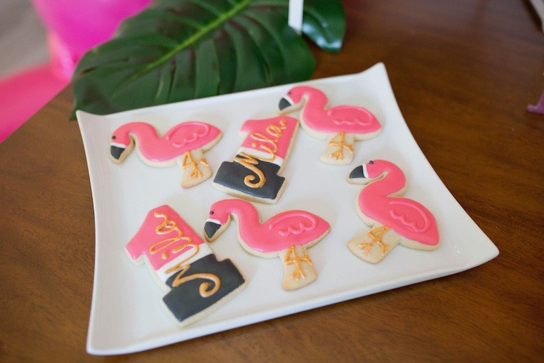 flamingo birthday cookies