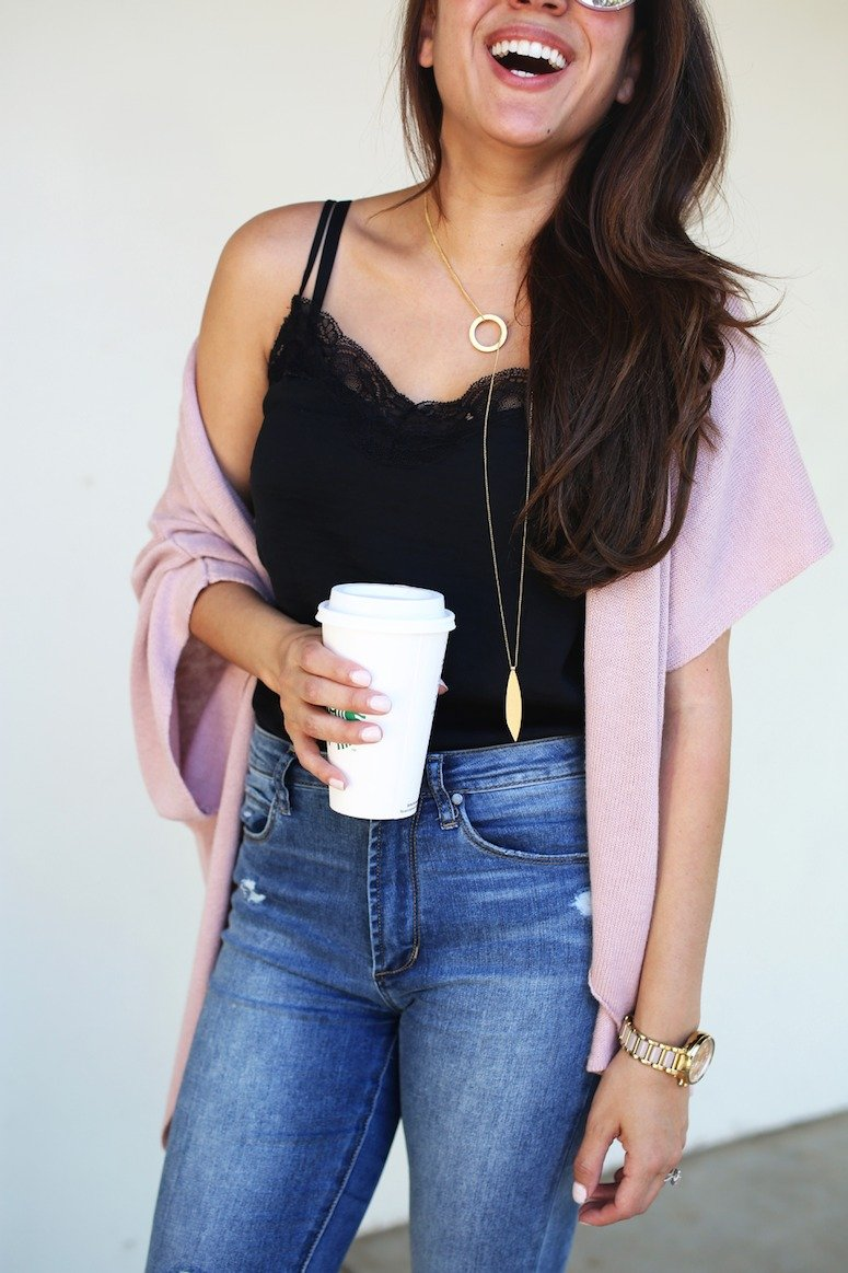 The cutest lace cami + cardigan outfit idea with layered necklace. Click to see the full post and why this is a foolproof outfit formula!