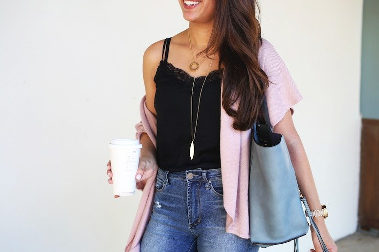 effortless style with a lace cami + cardigan outfit