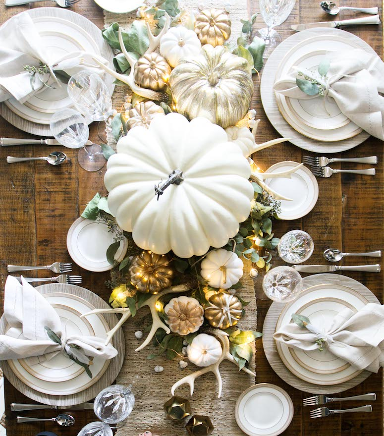 modern thanksgiving tablescape neutral decor idea