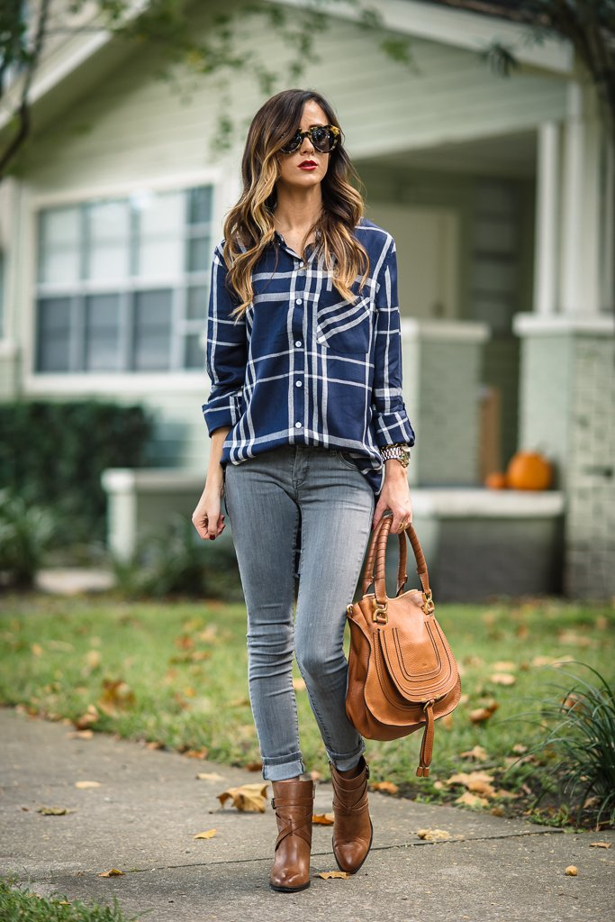 transition from summer to fall fashion plaid shirt outfit