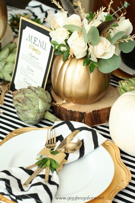 modern black and white thanksgiving tablescape