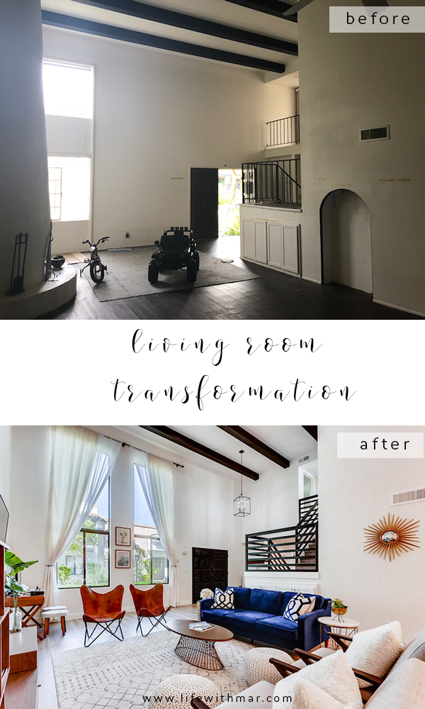 Before and After Living Room remodel, click to see the amazing transformation...on a budget!!