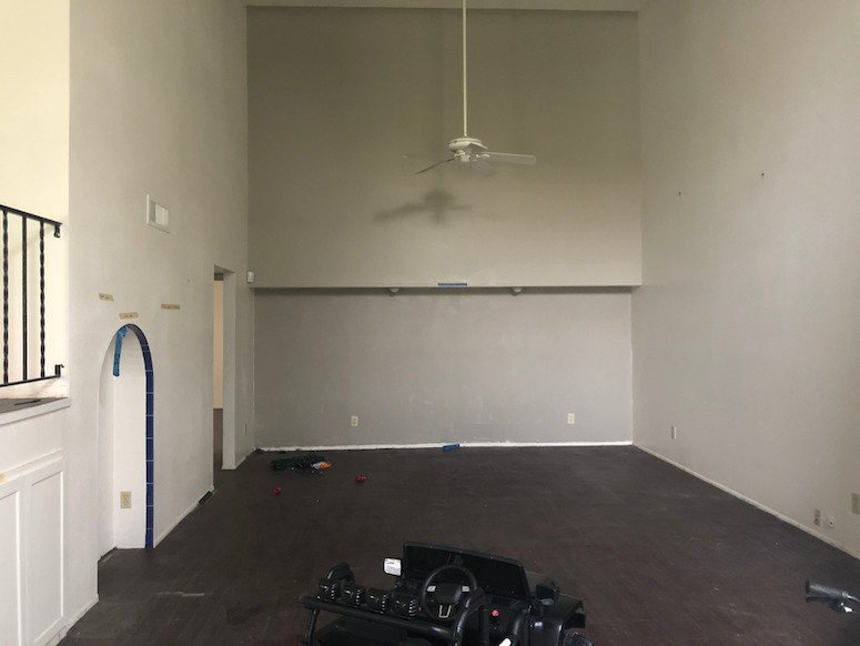 living room renovation before and after