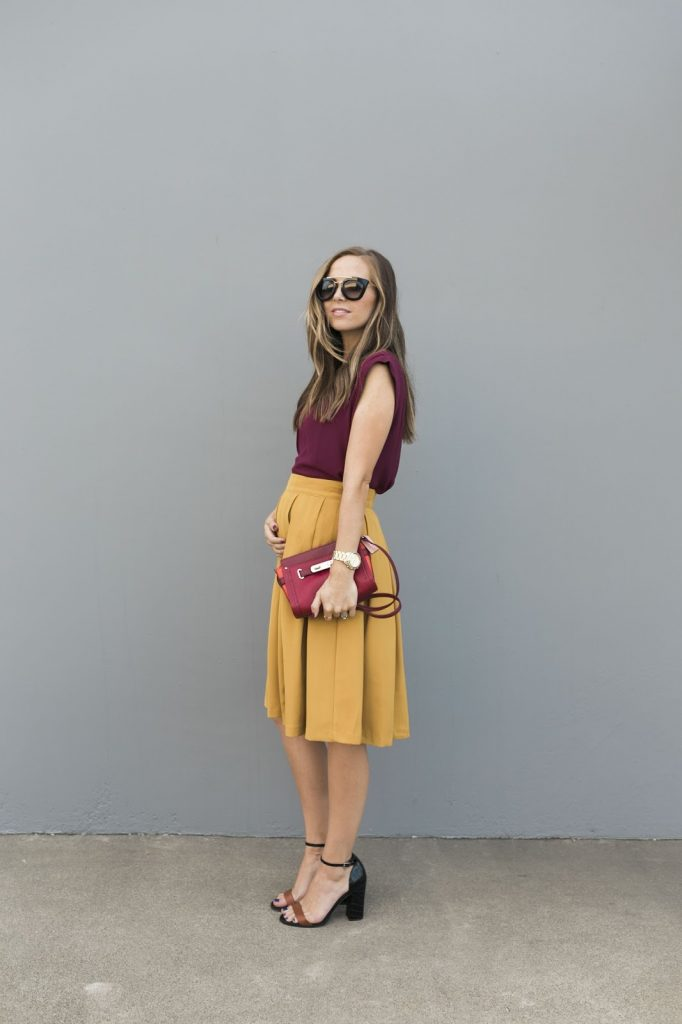mustard yellow skirt and burgundy top | how to wear mustard yellow