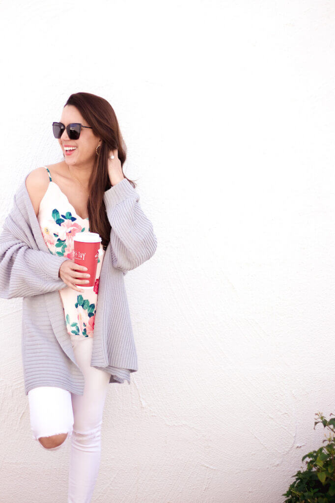 floral socialite cami with white jeans