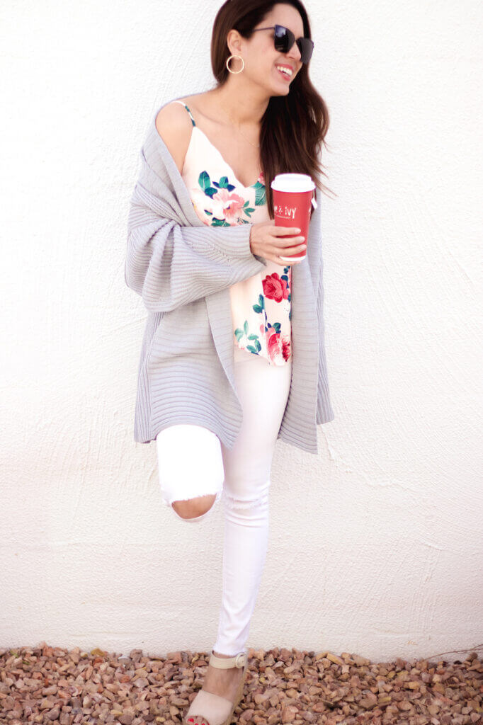 socialite floral print cami with white jeans